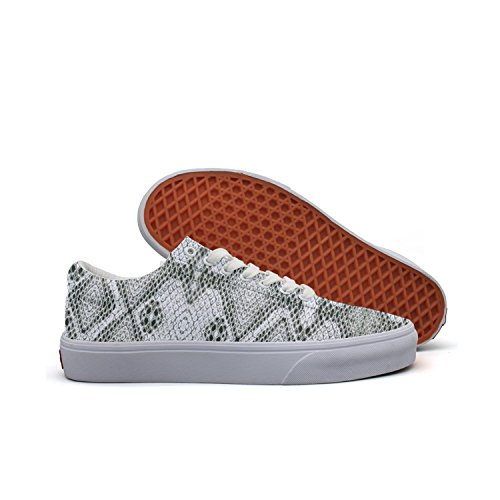- SERXO White Snake Skin Women¡s Casual Sneakers Shoes Boat Customize Fashion Vegan