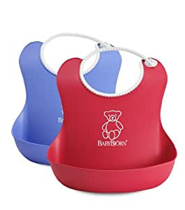 Amazon.com: BABYBJORN Soft Bib, Red/Blue, 2 Pack: Baby