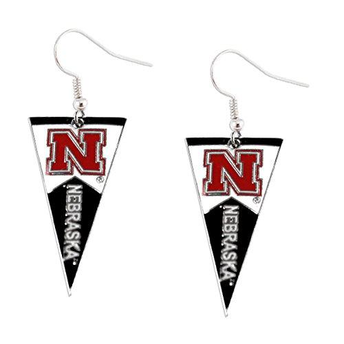 aminco NCAA Nebraska Huskers Pennant Dangle Earring Set