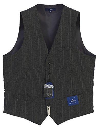 Gioberti Men's 5 Button Formal Pin Stripe Vest, Charcoal, X-Large
