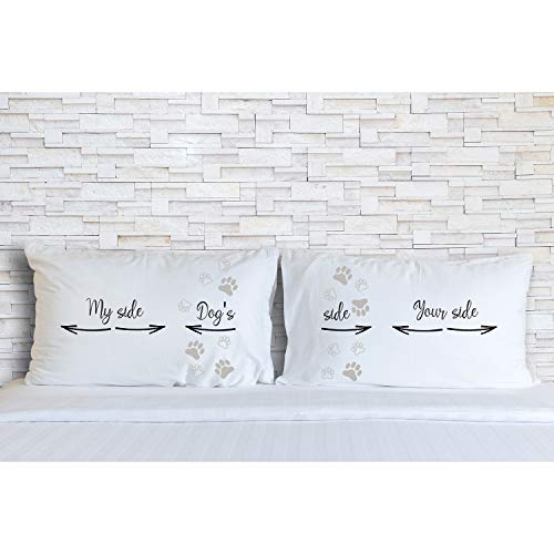 - Rubies & Ribbons Dogs Side My Side Your Side Pet Lovers Matching Pillowcases for Couples - His and Hers Birthday, Valentines Day, Set of 2 Pillow Covers