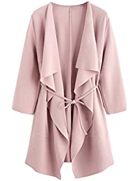 Women's Raw Cut Hem Waterfall Collar Long Sleeve Wrap Trench Coat Cardigan