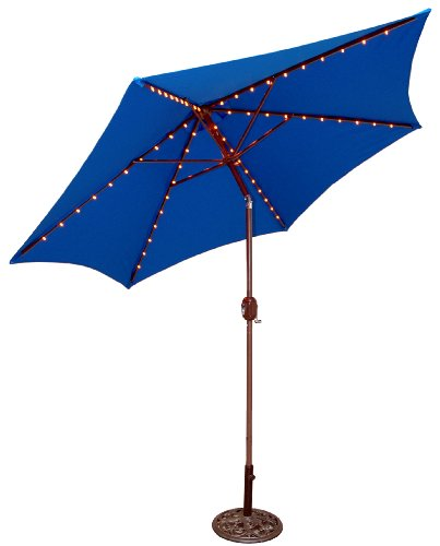 Tropishade Tropilight LED Lighted 9 ft Bronze Aluminum Market Umbrella with Royal Blue Polyester Cover - Festive 9 foot umbrella is perfect mood lighting for night time parties on the patio. Aluminum frame with 1-3/8 inches pole, 6 ribs lined with LED amber lights, 3 position tilt. UL approved low-voltage adapter with 18-feet cord. Lights are plug in, NOT solar powered - shades-parasols, patio-furniture, patio - 41M6QWfvzWL -