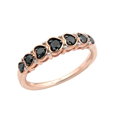 Brand New 0.32 Carat Natural Black Diamond Seven Diamond Ring, 10k Rose Gold Size 6.5 by Prism Jewel