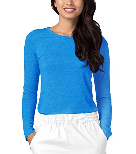 Adar Womens Comfort Long Sleeve T-Shirt Underscrub Tee - 2900 - Heather Pool Blue - 2X ()