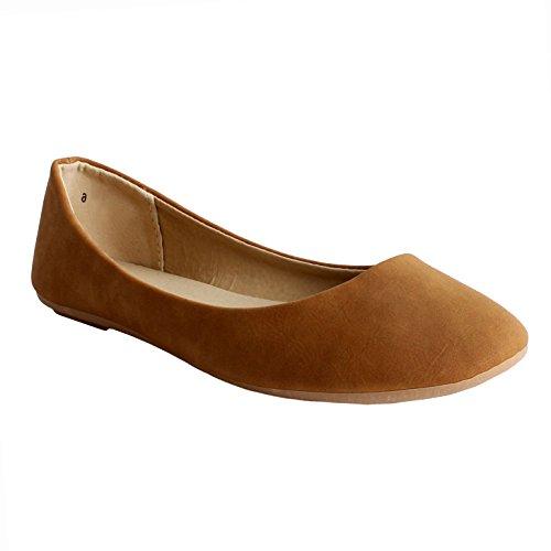Guilty Schuhe Damen Comfort Round Toe Slip auf Ballett Wohnungen Schuhe Wohnungen 05 Tan Pu