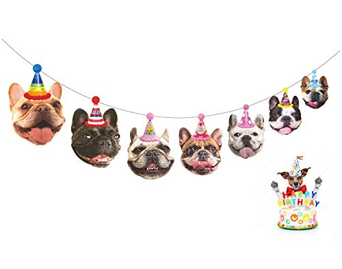 Gyzone Dogs Birthday Garland, Funny French Bulldog Face Portrait Birthday Banner, Bday Bunting Decorations]()
