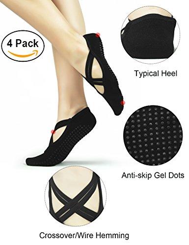 Elutong Yoga Socks Anti Skid Women Socks 4 Pack Ballet Barre Pilates Dance Fitness Socks(5-9)
