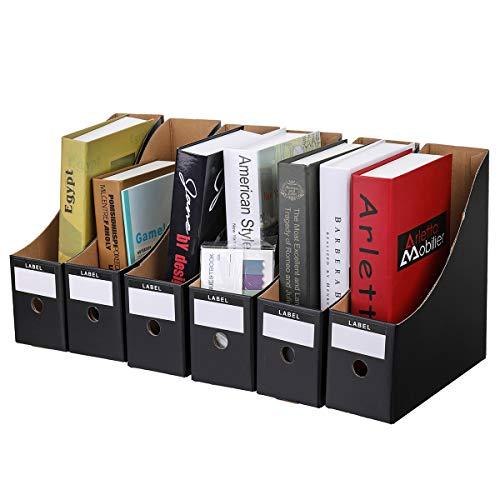 Magazine File Holder Organizer Box Caveen 6pcs Drawer Kraft Paper File Holder Office Supplies Desk Storage Organizer Documents File ()