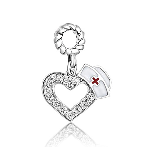 Medical Symbol Sterling Silver Charm (The Kiss RN Registered Nurse Medical Symbol Heart Charm 925 Sterling Silver Bead Fits European Charm Bracelet (Nurse Hat Heart Dangle))