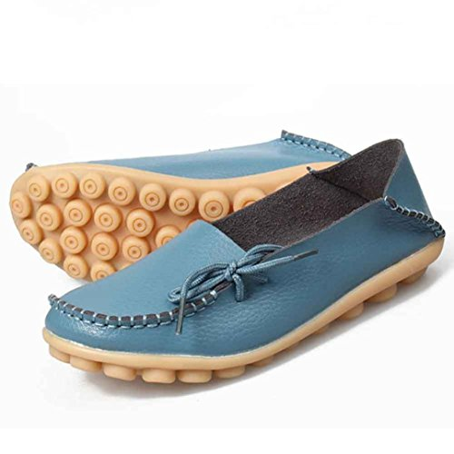Casual Flats Women Loafers Leisure Soft Blue Shoes Female erthome Leather Shoes 7qxYq8