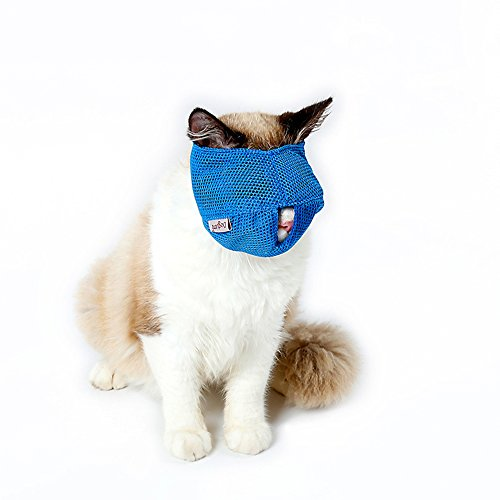 Cat Muzzles - Breathable Mesh Muzzles Prevent Cats from Biting and Chewing - Anti Bite Anti Meow (BLUE-L)