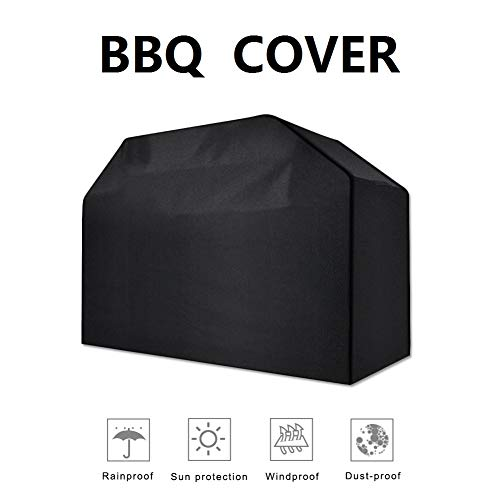 Hotipine BBQ Gas Grill Cover Heavy Duty Waterproof Outdoor 600D Durable Breathable Barbeque Cover with Tighten Rope and Storage Bag for Weber Char-Broil - 74 inch (Black)