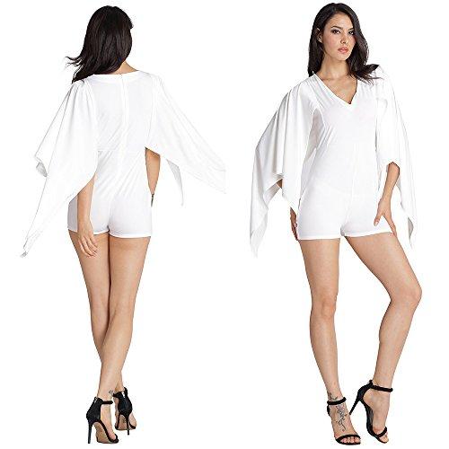 Pantalon V Collier Glissière En De Chauve Unie Pièce Fermeture White Couleur Manches À Short souris Slim Jumpsuit qpqrf16