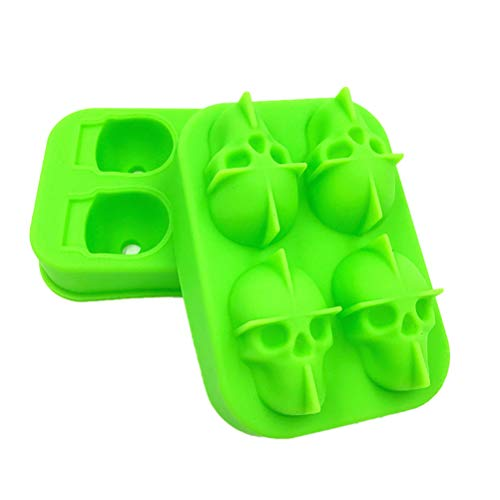 NACOLA 3D Skull Silicone Jello Ice Mold Flexible Cube Maker Tray for Halloween Christmas Party. Best for Whiskey Cocktails ()