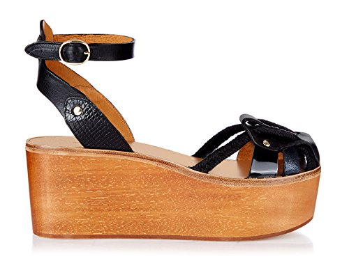 isabel-marant-womens-black-leather-fabric-wedges-shoes-size-9-us