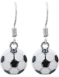 Soccer Earrings - Soccer Enamel Dangle Earrings