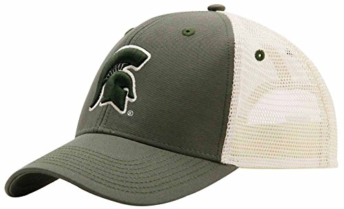 NCAA Michigan State Spartans Adult Unisex Soft Mesh Sideline Cap, Adjustable, Loden/Natural
