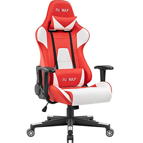 Furmax High-Back Gaming Office Chair Ergonomic Racing Style Adjustable Height Executive Computer Chair,PU Leather Swivel Desk Chair (White/Red) Furmax