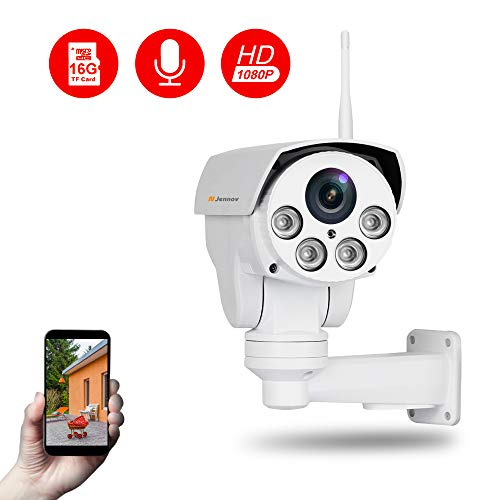 Jennov Full HD 2.0MP 1080P WiFi IP Wireless Security Cameras Outdoor Waterproof CCTV Pan Tilt Zoom PTZ Camera with Built-in 16G Micro SD Card Day Night Vision Mobilephone Remote View - Fixed Camera Bracket Clear Window