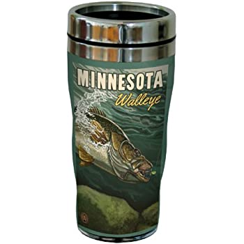 16-Ounce Multicolored Tree Free Lanquist Stainless Steel Sip N Go Travel Tumbler Tree-Free Greetings sg23354 Vintage Canada Walleye by Paul A