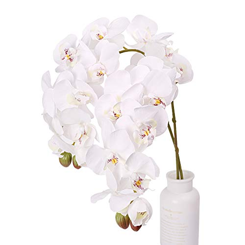N&T NIETING Artificial Orchid Phalaenopsis Flower, 2PCS 29in Real Touch Simulation Orchild with Stem for Wedding, Flower Arrangement, Home Centerpiece Decor, Party Decorations (White-2) (Artificial Large Orchid)