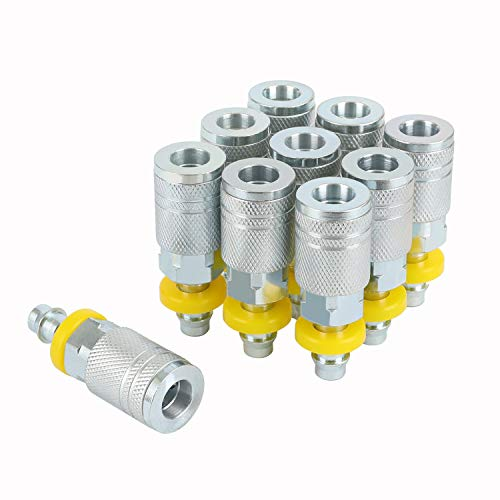 WYNNsky Air Hose Quick Connector I/M Type Push On and Lock Air Coupler with 3/8'' Hose Barb, 10 Piece Air Hose Fittings Set