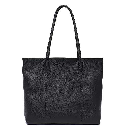 Genuine Cow Leather Women Tote Bag STEPHIECATH Brand Large Classic Soft Real Leather Skin Shoulder Handbag(BLACK)
