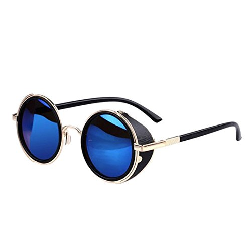 TONSEE Vintage Hippie Cyber Steampunk Round Circle Retro Metal Sunglasses (B)