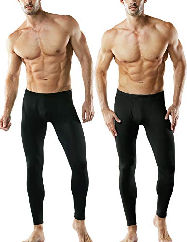 TSLA Men's 2 Pack Thermal Microfiber Fleece Lined Bottom Underwear Long Johns Stretchy with Fly, Thermal Fly 2 Pack(mhb101) - Black, Large