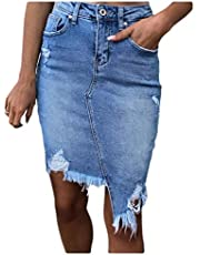 DUe Women Cowboy Bodycon Tassel Skinny Ripped Asymmetric Hem Midi Skirt