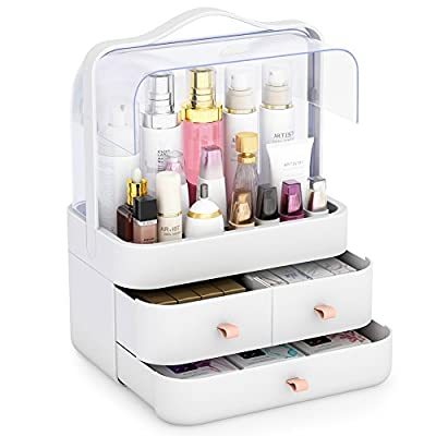 "Little Tree Large Makeup Organizer, Cosmetic and Jewelry Storage with Dustproof Lid, Display Boxes with Drawers for Vanity, Bathroom Counter or Dresser, Make of ABS, White - Large Organizerfor Makeup and Cosmetic tools:11.8 "" * 7.8"" * 15.7"" (L*W*H), large open sapce and three drawers,Keep all your cosmetics, jewelry or hair accessories neat, organized and arm's reach. Featured with carrying handle, convenient to remove. High-grade Materialy:Made of Nontoxic ABS plastics, a high quality shatter resistance safeguards against injury and damage. It is thicker and more durable than the typical acrylic makeup storage cases, jewelry boxes, and organizers. Upgraded Design:Gorgeous white finish decorated with clear box dustproof and waterproof lid, fit for vanity, bathroom counter or dresser, the makeup case will stand out wherever you place it for its neat and innovative look, bringing elegant glamour to every lady. - organizers, bathroom-accessories, bathroom - 41M6Tsff0wL. SS400  -"
