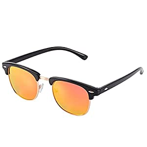 FEIDU Classic Brand Polarized Sunglasses Half Metal Frame With Box FD3030 (C2, Black)