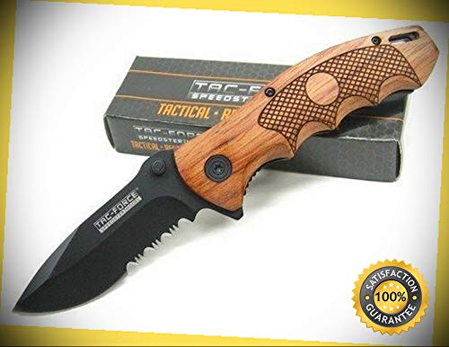 Brown Pakkawood Serrated Assisted Folding Pocket Sharp Knife 878 Combat Tactical Knife by KARPP