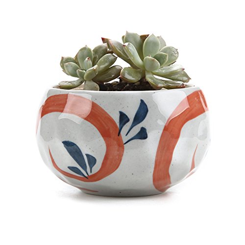 T4U 4.25 Inch Ceramic Japanese Style Clay Serial Red Grass Succulent Plant Pot Cactus Plant Pot Flower Pot Container Planter