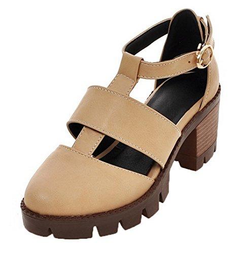 VogueZone009 Women Buckle PU Round-Toe Kitten-Heels Solid Sandals apricot