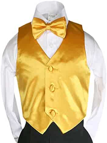 0a55fc5977bd Unotux 23 Color 2pc Boys Formal Satin Vest and Bow Tie Sets from Baby to 7
