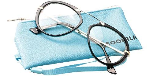 SOOLALA Oversized 55mm Lens Aviator Reading Glass Clear Lens Large Frame, Black, - Lens Uk Glasses Aviator Clear