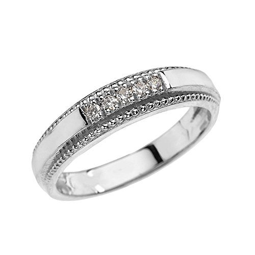 14k White Gold Diamond Wedding Band Ring For Men (Size 8.5)