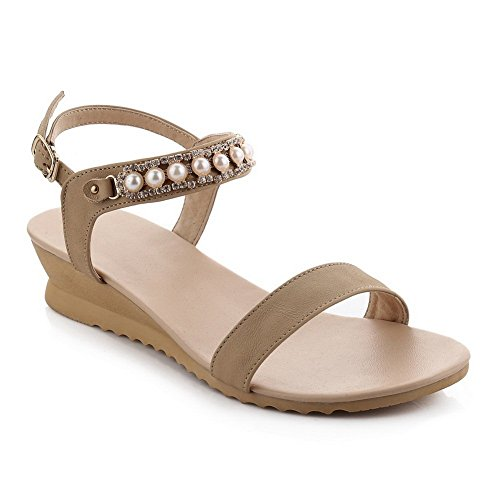 BalaMasa Ladies Bead Solid Cow Leather Sandals Apricot izEKr6SB