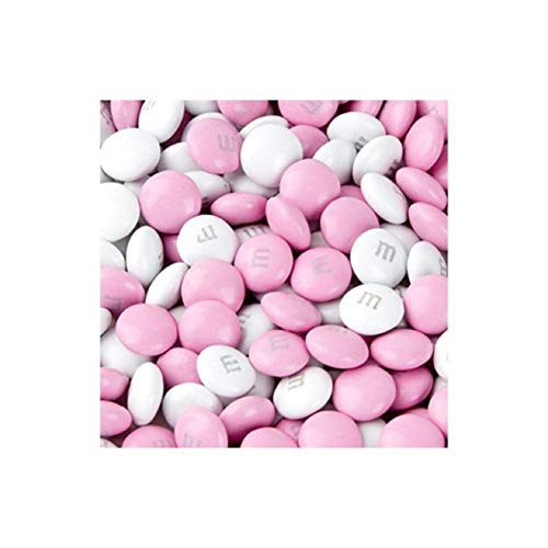 M&M's Light Pink & White Milk Chocolate Candy 5LB Bag -