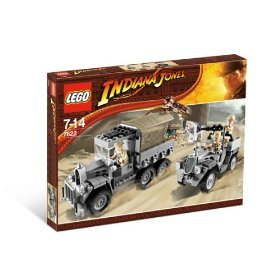 Lego Indiana Jones Movie Scene Set 7622 - Race for the Stolen Treasure with Indiana Jones with Hat, Whip and Bag, 3 Guards, 1 Covered Truck, 1 All Terrain Vehicle, Treasure Chest and a Horse (272 Pieces)