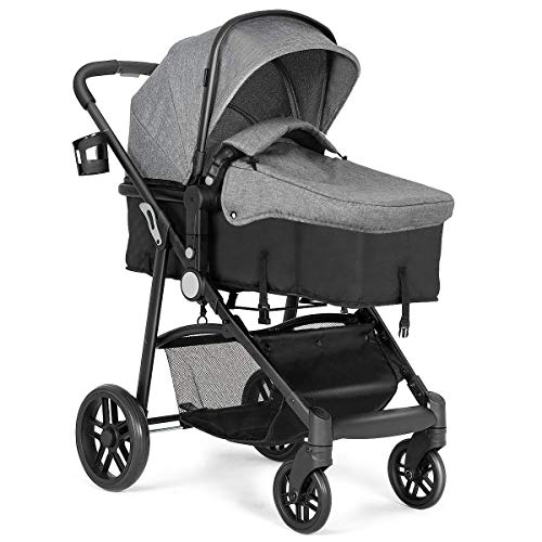 - BABY JOY Baby Stroller, 2 in 1 Convertible Carriage Bassinet to Stroller, Pushchair with Foot Cover, Cup Holder, Large Storage Space, Wheels Suspension, 5-Point Harness (Gray)