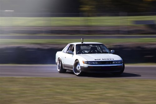 Nissan S13 240 240 White Silvia Right Front Drift WORK Wheels HD Poster Sports Car 48 X 32 Inch Print ()
