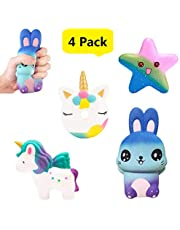 LifenC 4pcs Slow Rising Squishy toys, Kawaii Squishies Jumbo Scented Squishy Squeeze Soft Toy Stress Reliever Gift for Girls Boys Adults (Bunny + Cute Donut + Rainbow Unicorn + Star)