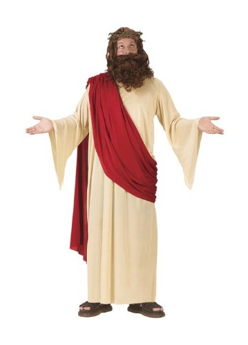FunWorld Men's Jesus Adult Costume with Crown and Beard, Cream/Red, One Size Fits Up To 6ft. 200 lbs. - Jesus Robes Costume