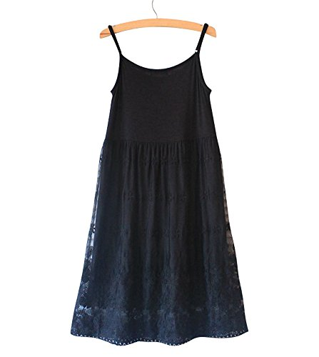 Purpura Erizo Femme Robe Courte Sans Manches A Superpositions,Noir,Camisole