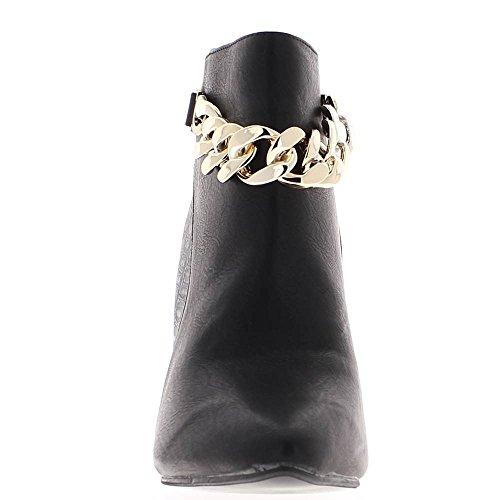Bottines femme noires à talon de 9cm chainette bi matière
