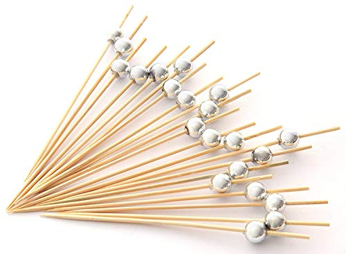 Not Toothpick - PuTwo Handmade Cocktail Picks 100 Count Sticks Wooden Toothpicks Party Supplies - Silver Pearl