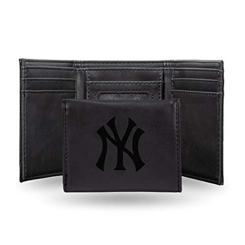 (Rico New York Yankees MLB Laser Engraved Black Trifold Wallet)